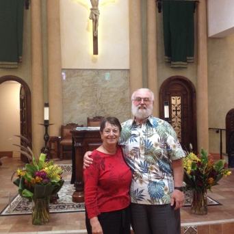 Jim and Connie at St. Julie Billiart in Thousand Oaks. Jim lead the major renovation of the church.