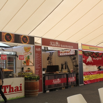 Many food booths were set up neatly inside.